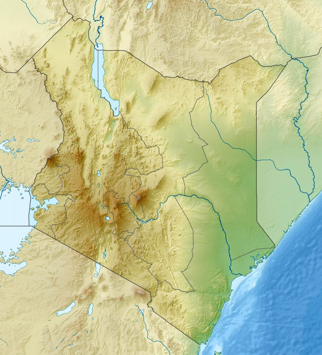 Detailed relief map of Kenya