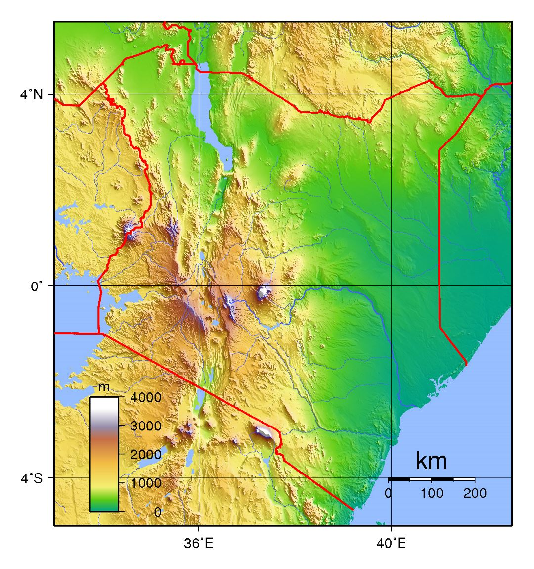 Detailed topographical map of Kenya