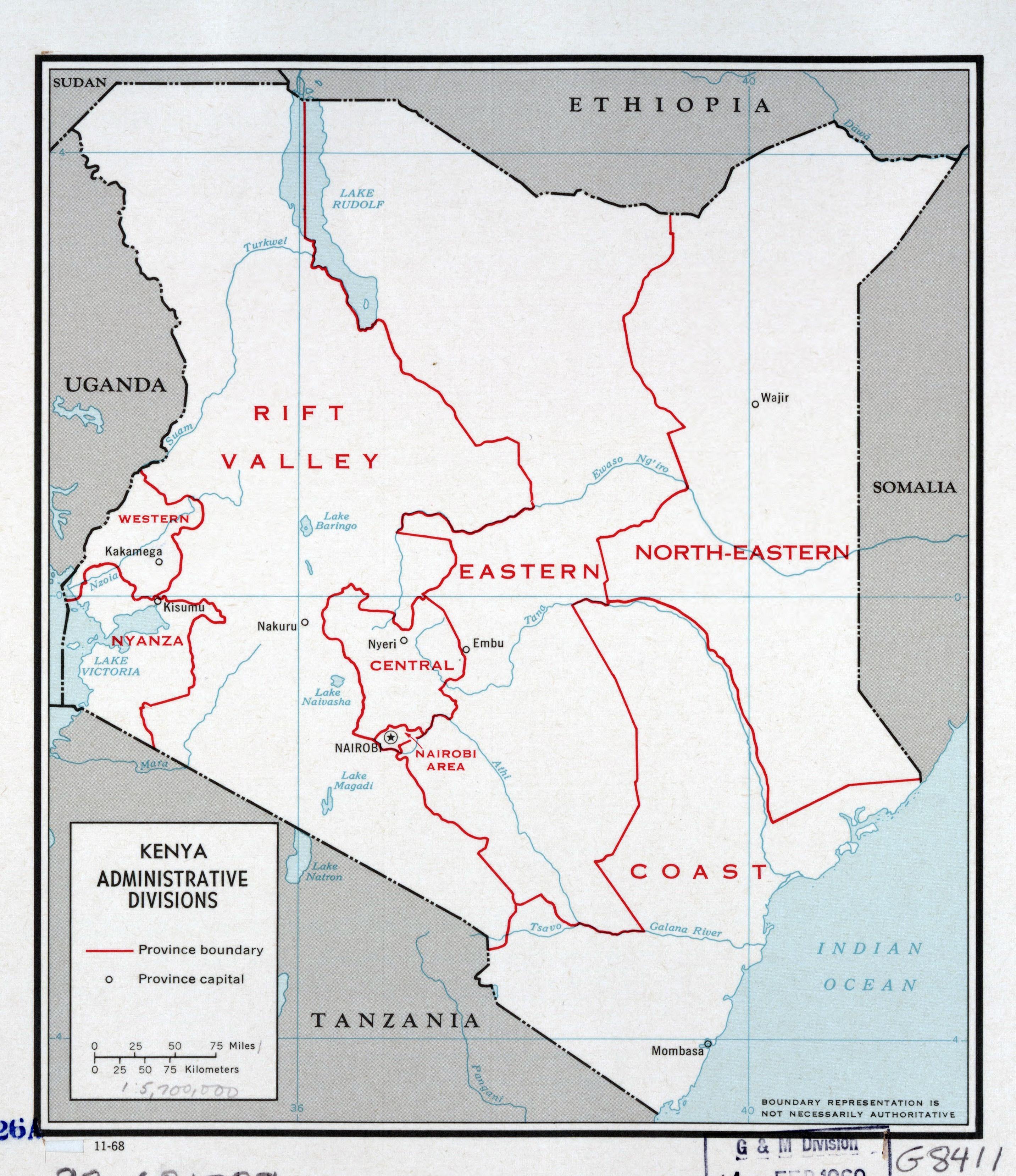 Large detailed administrative divisions map of Kenya 1968 Kenya