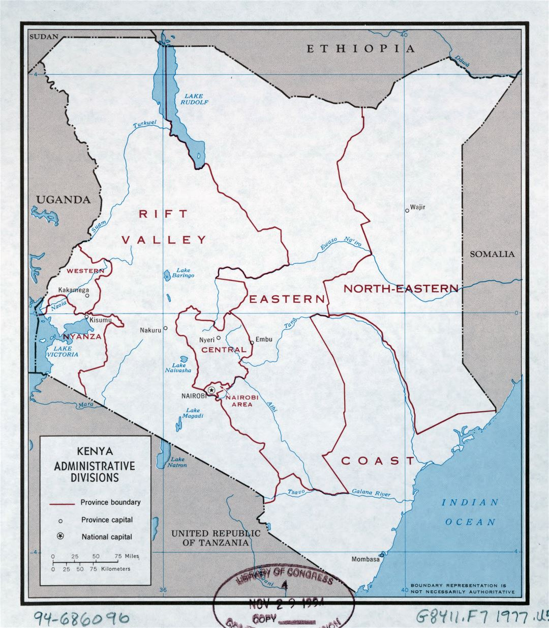 Large detailed administrative divisions map of Kenya - 1977