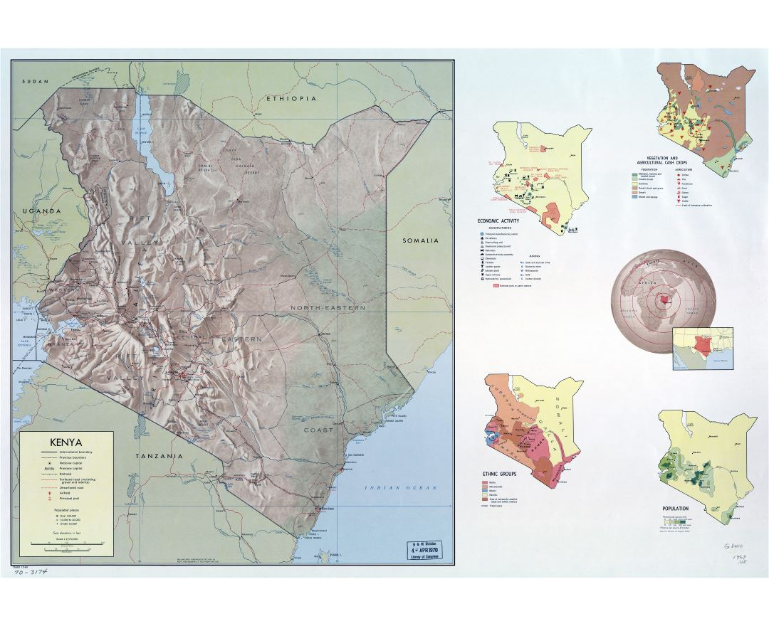 Large detailed country profile map of Kenya