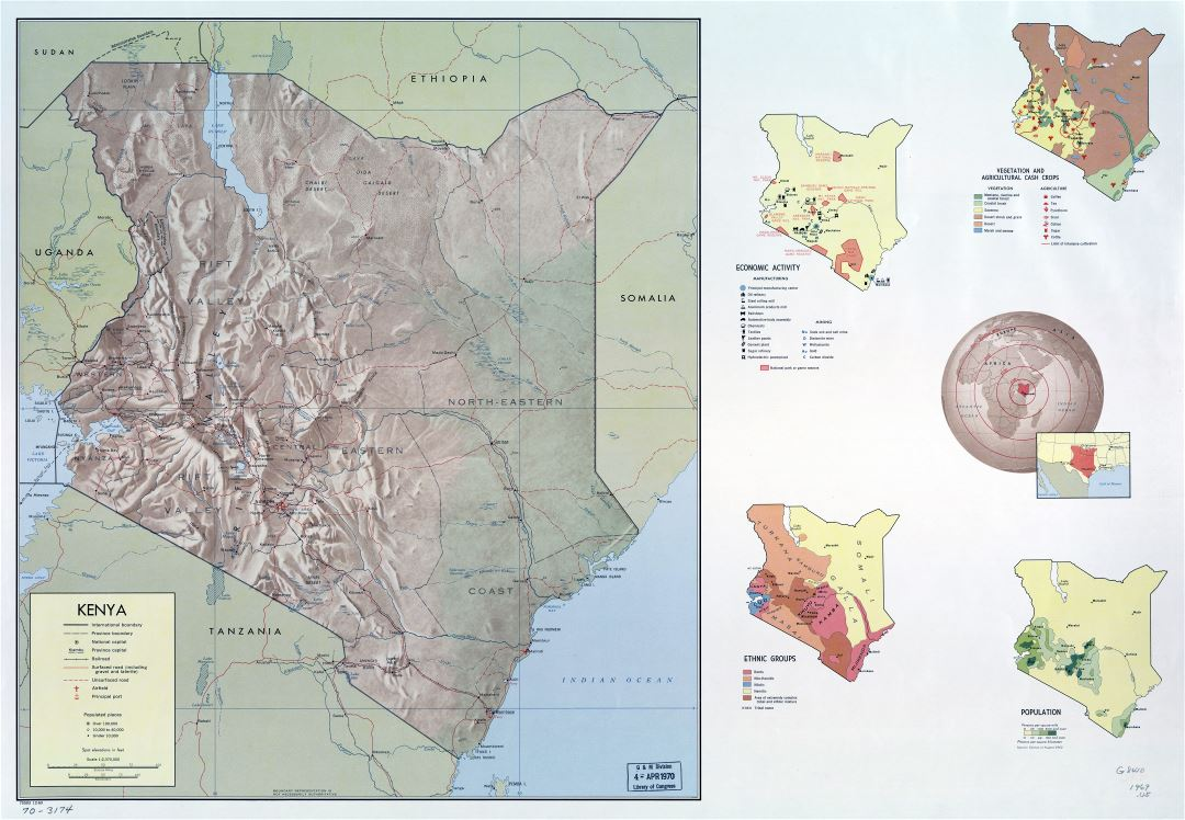 Large detailed country profile map of Kenya - 1969