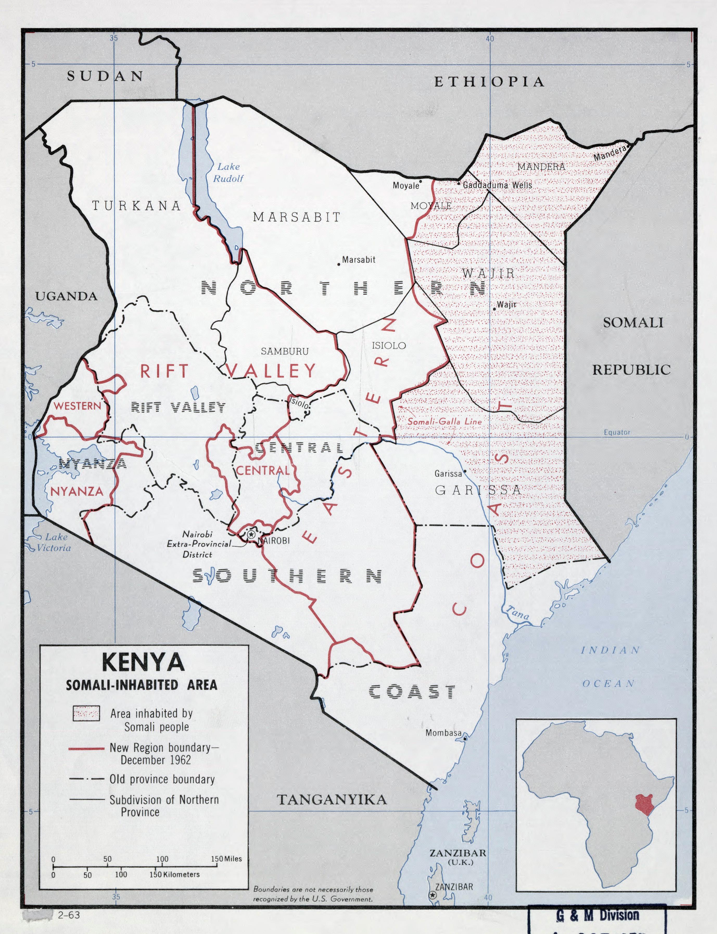 Large detailed map of Kenya with Somali Inhabited Area 1963