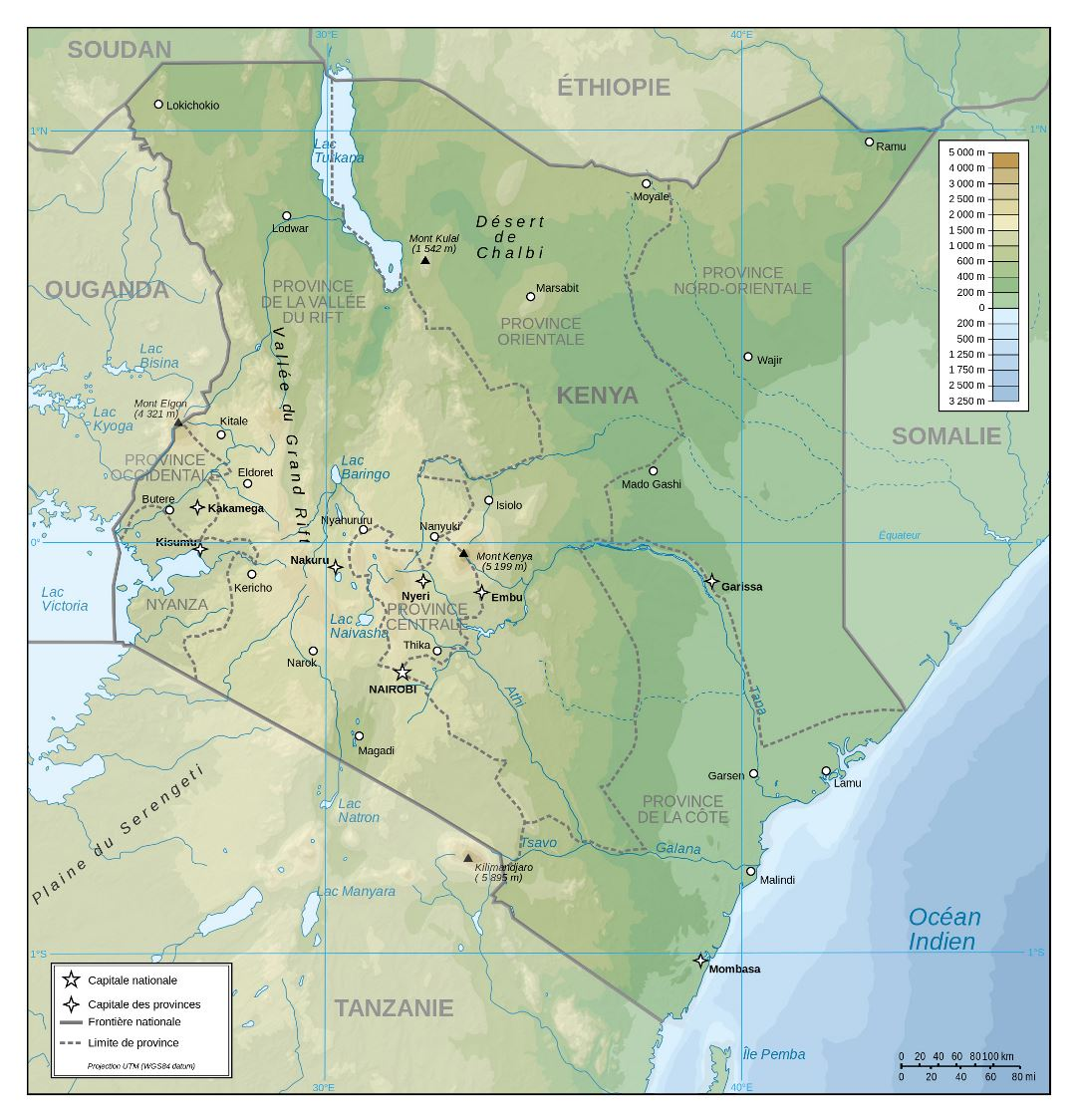 Large detailed physical map of Kenya