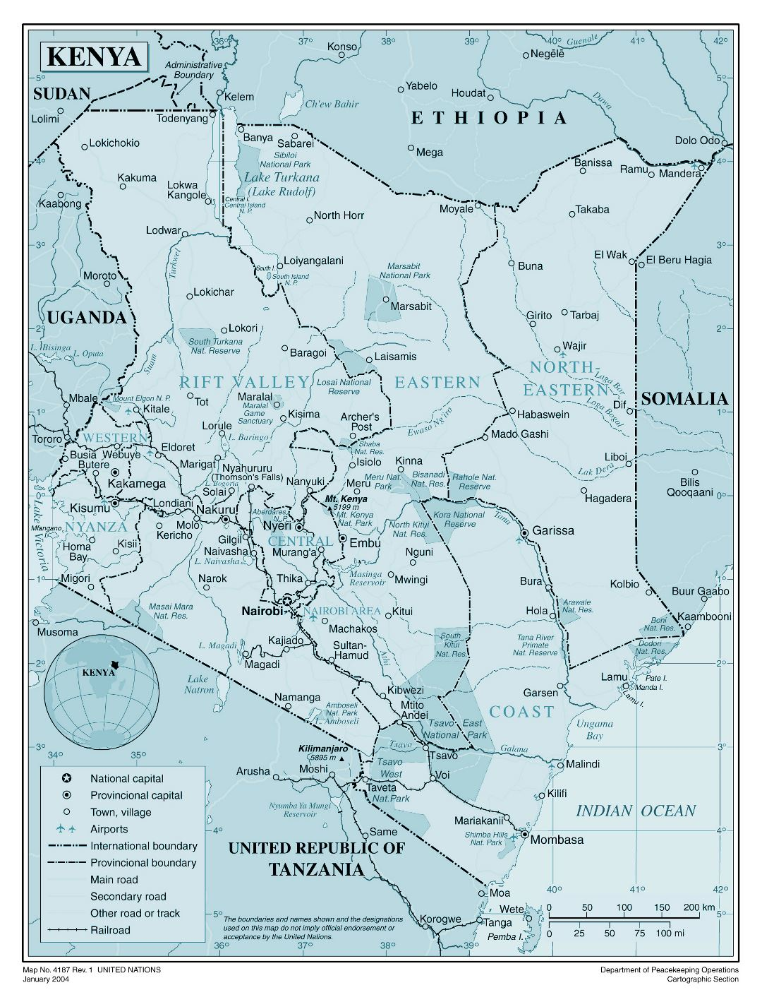 Large detailed political and administrative map of Kenya with all cities, roads, railroads and airports