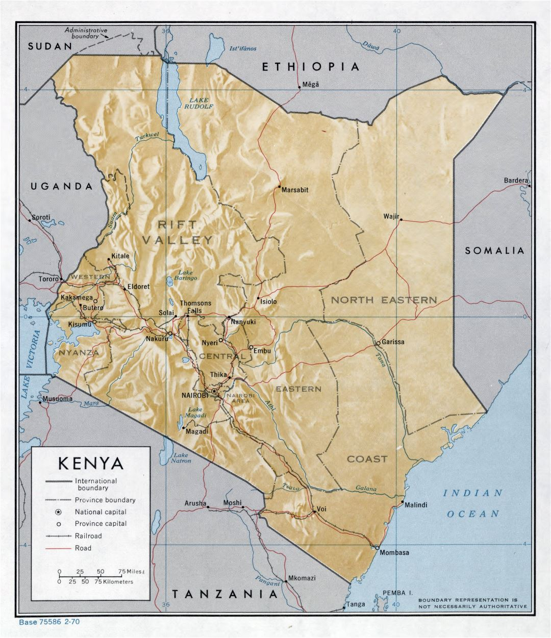 Large detailed political and administrative map of Kenya with relief, roads, railroads and major cities - 1970