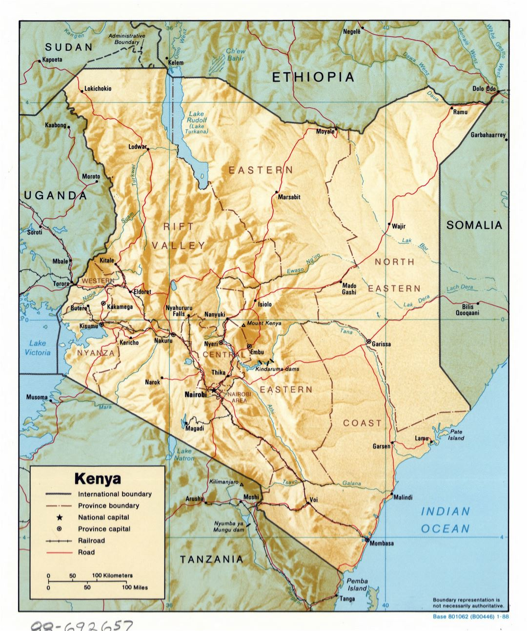 Large detailed political and administrative map of Kenya with relief, roads, railroads and major cities - 1988