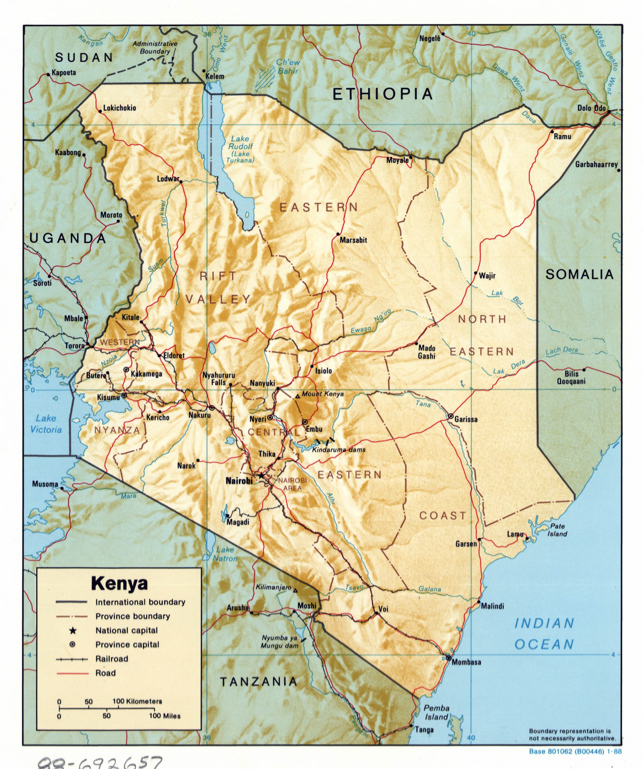 Large detailed political and administrative map of Kenya with relief