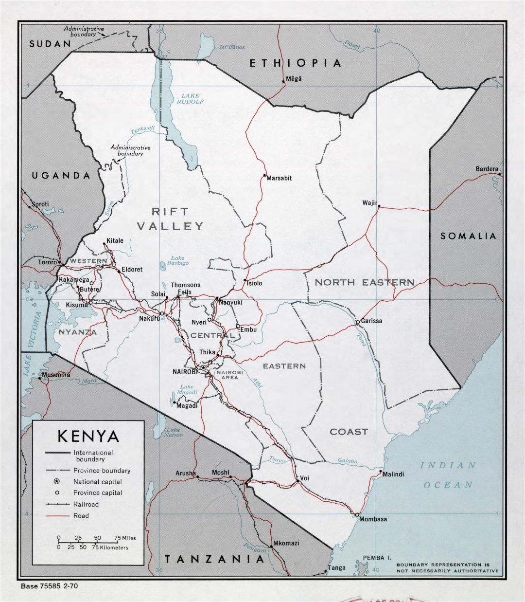 Large detailed political and administrative map of Kenya with roads, railroads and major cities - 1970
