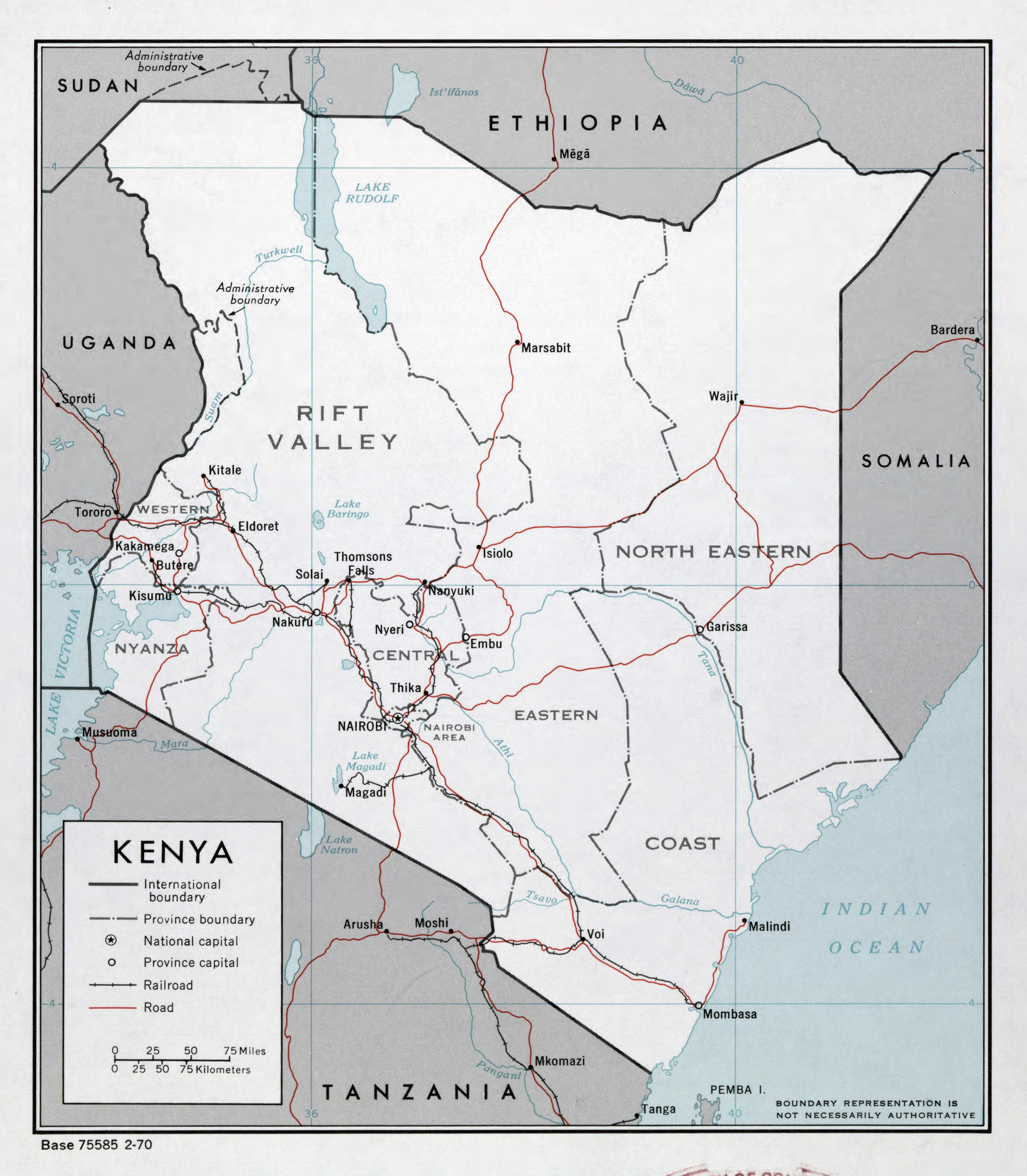 Large detailed political and administrative map of Kenya with roads
