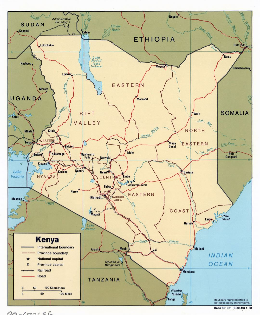 Large detailed political and administrative map of Kenya with roads, railroads and major cities - 1988