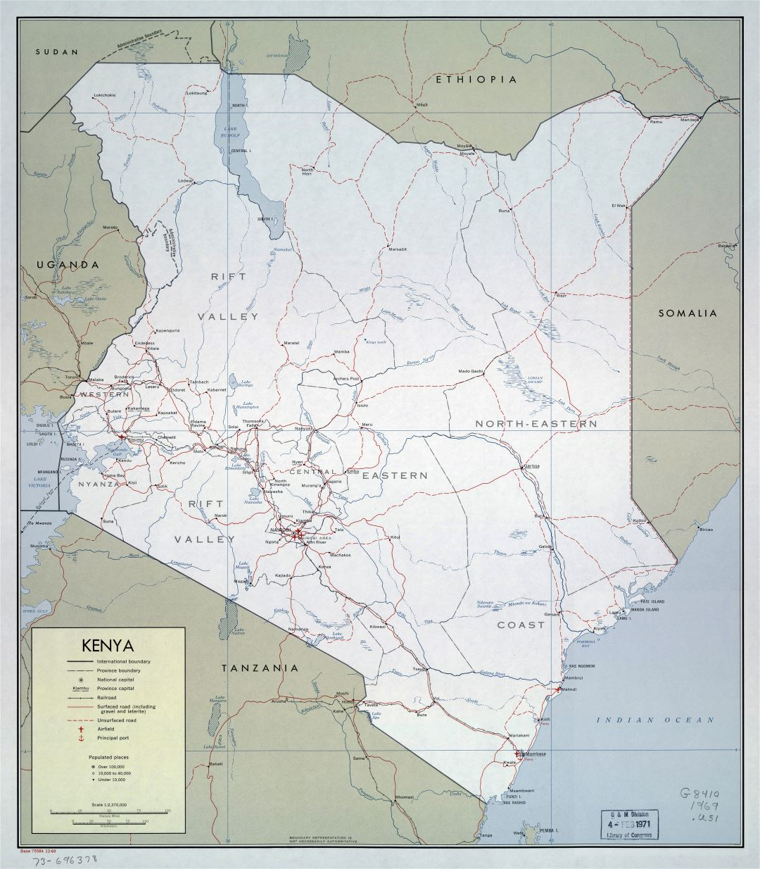 Large detailed political and administrative map of Kenya with roads, railroads, cities, ports and airports - 1969