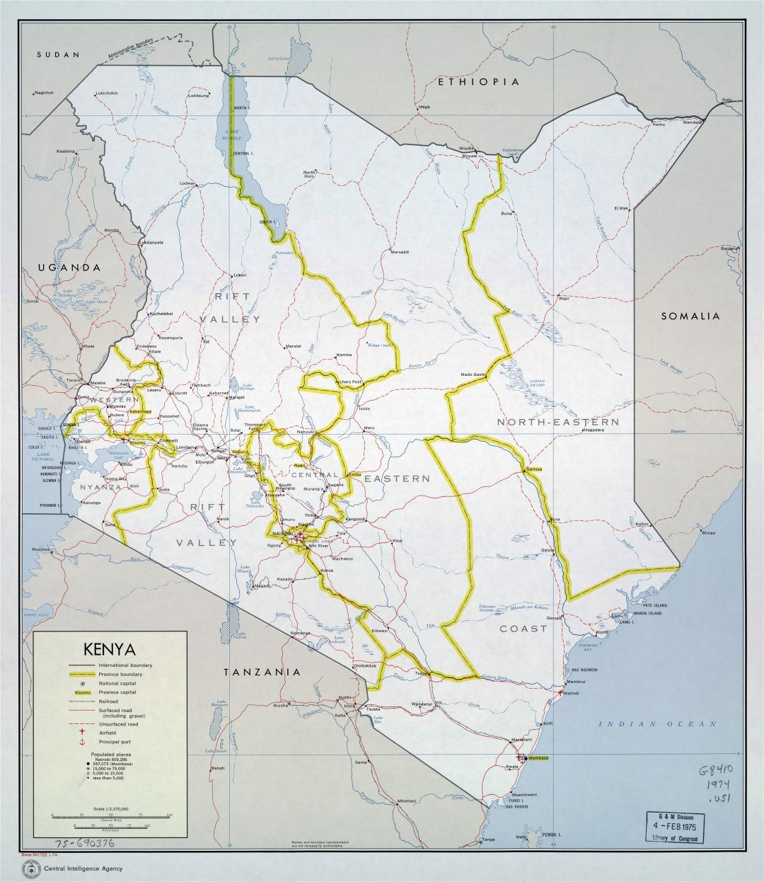 Large detailed political and administrative map of Kenya with roads, railroads, cities, ports and airports - 1974