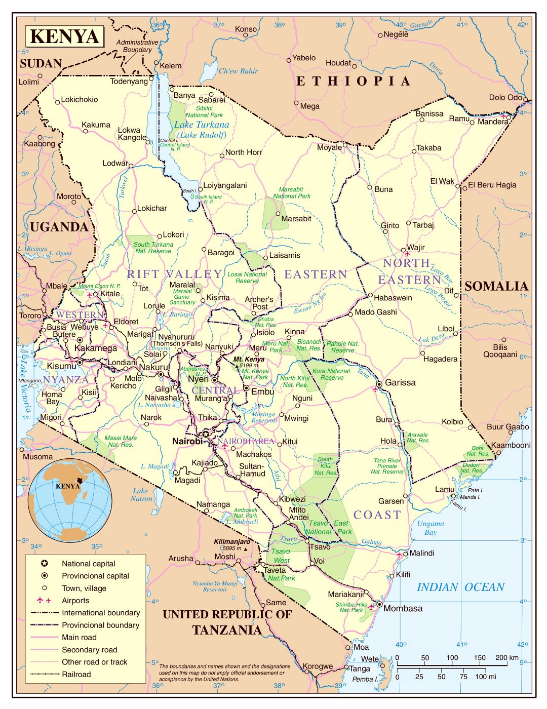 Large detailed political and administrative map of Kenya with roads, railroads, national parks, cities and airports