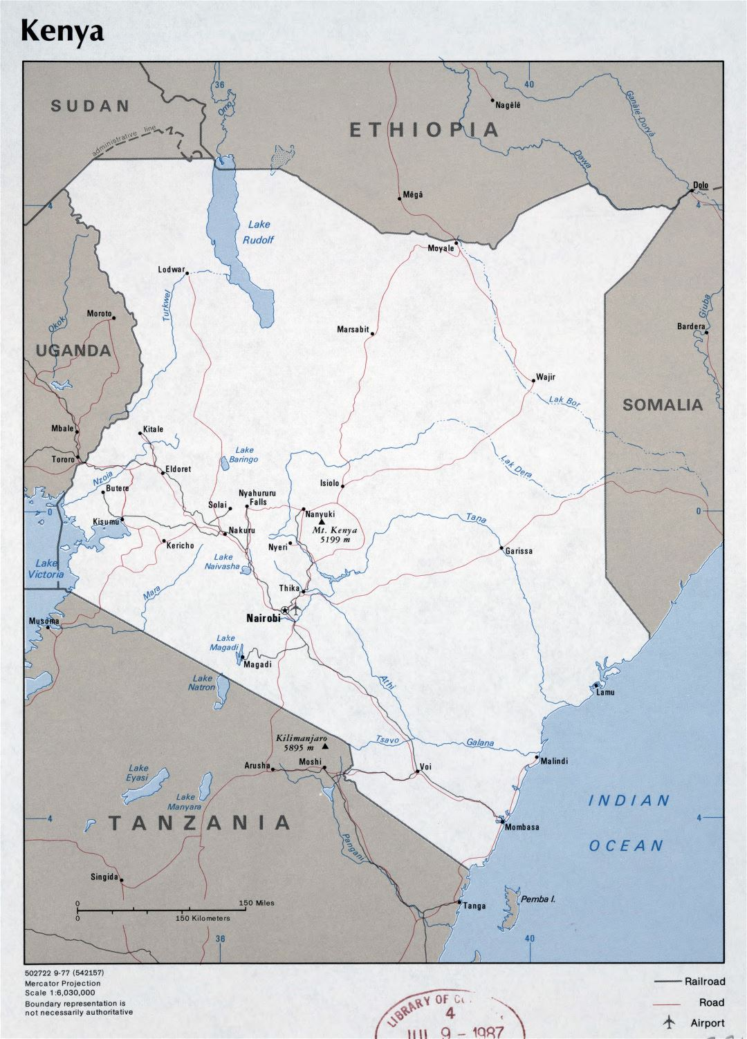 Large detailed political map of Kenya with roads, major cities and airports - 1977