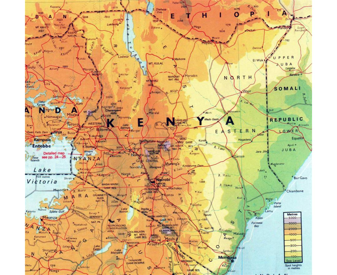 Maps of kenya detailed map of kenya in english tourist map large elevation map of kenya with other marks gumiabroncs Images
