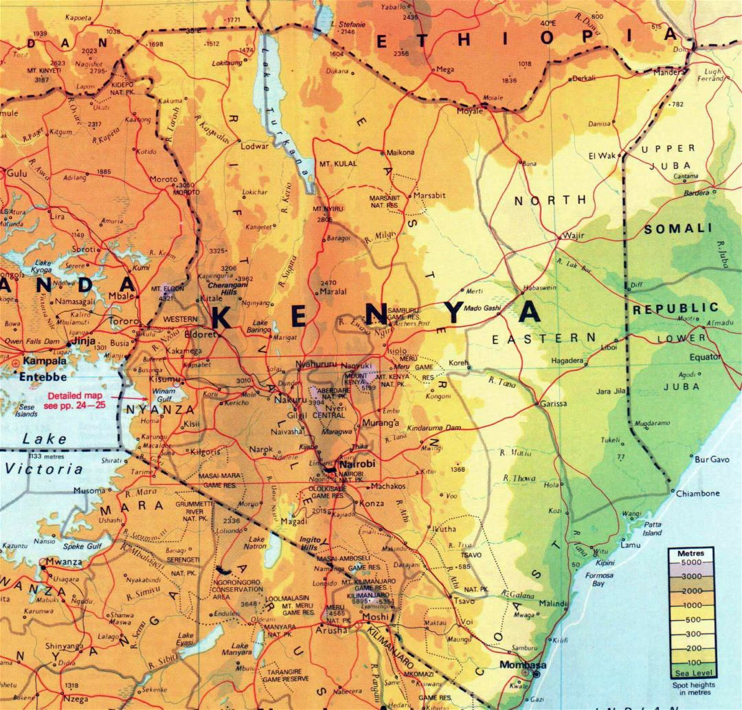 Large elevation map of Kenya with other marks