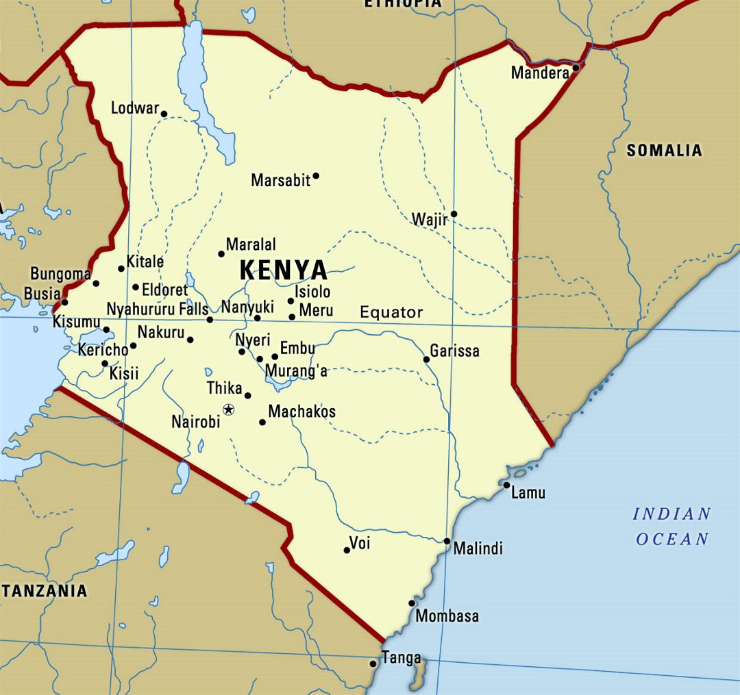 Large map of Kenya with cities
