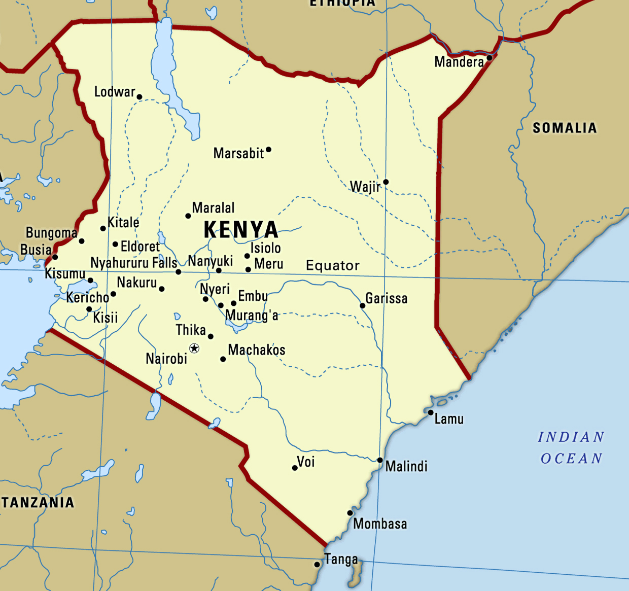 Large map of Kenya with cities | Kenya | Africa | Mapsland | Maps of ...