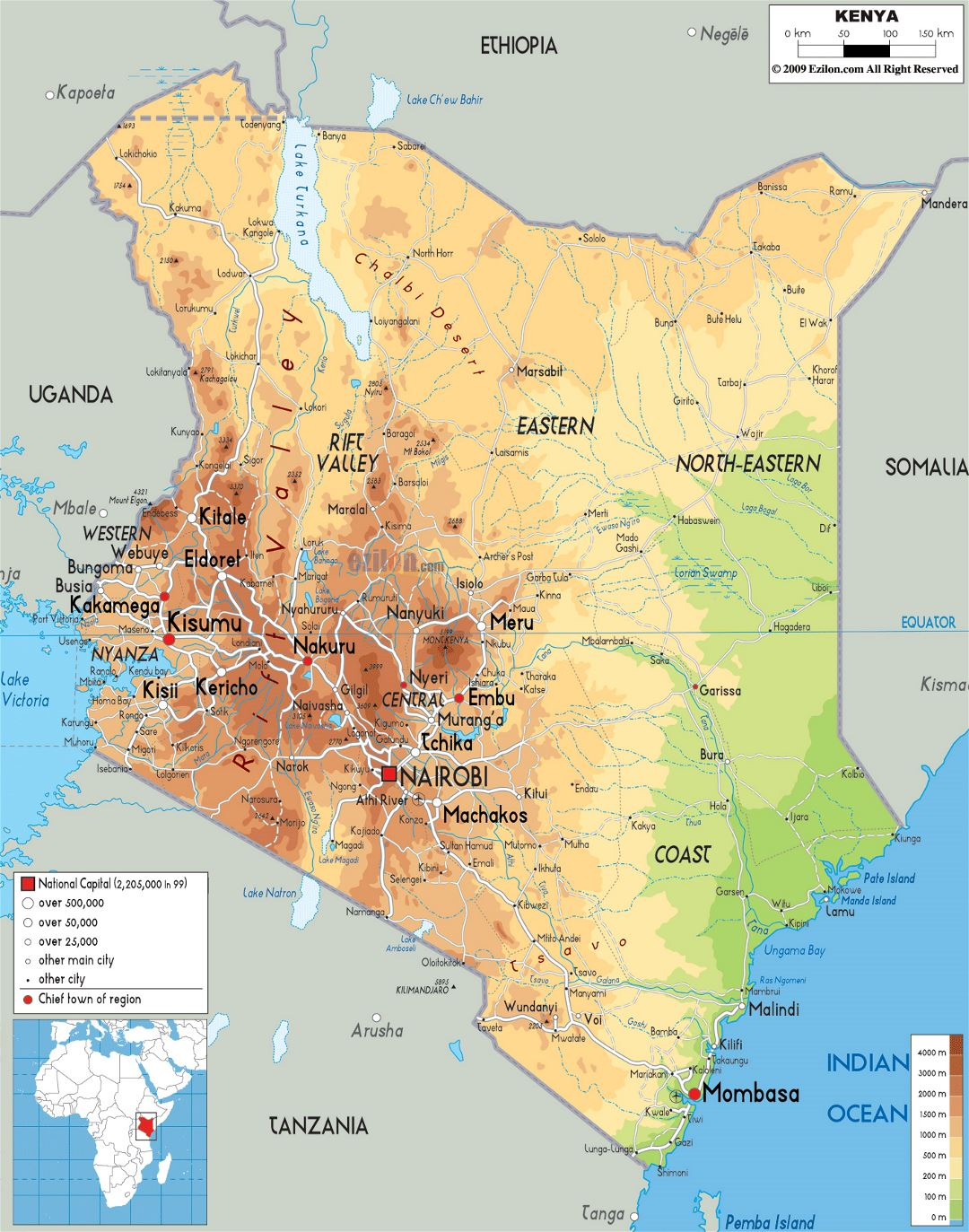 Large physical map of Kenya with roads, cities and airports