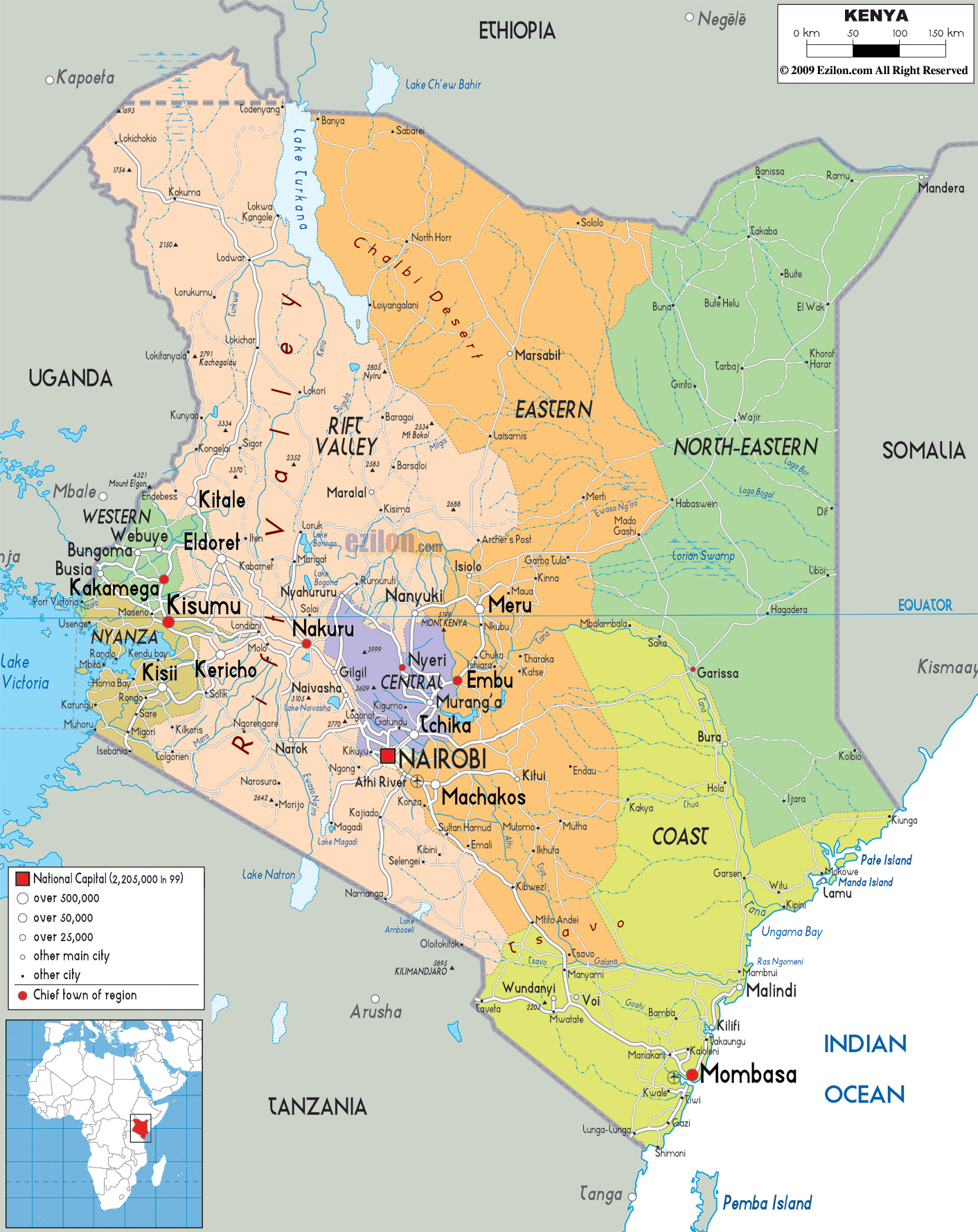 Large political and administrative map of Kenya with roads cities