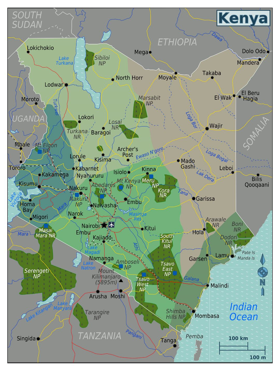 Large regions map of Kenya