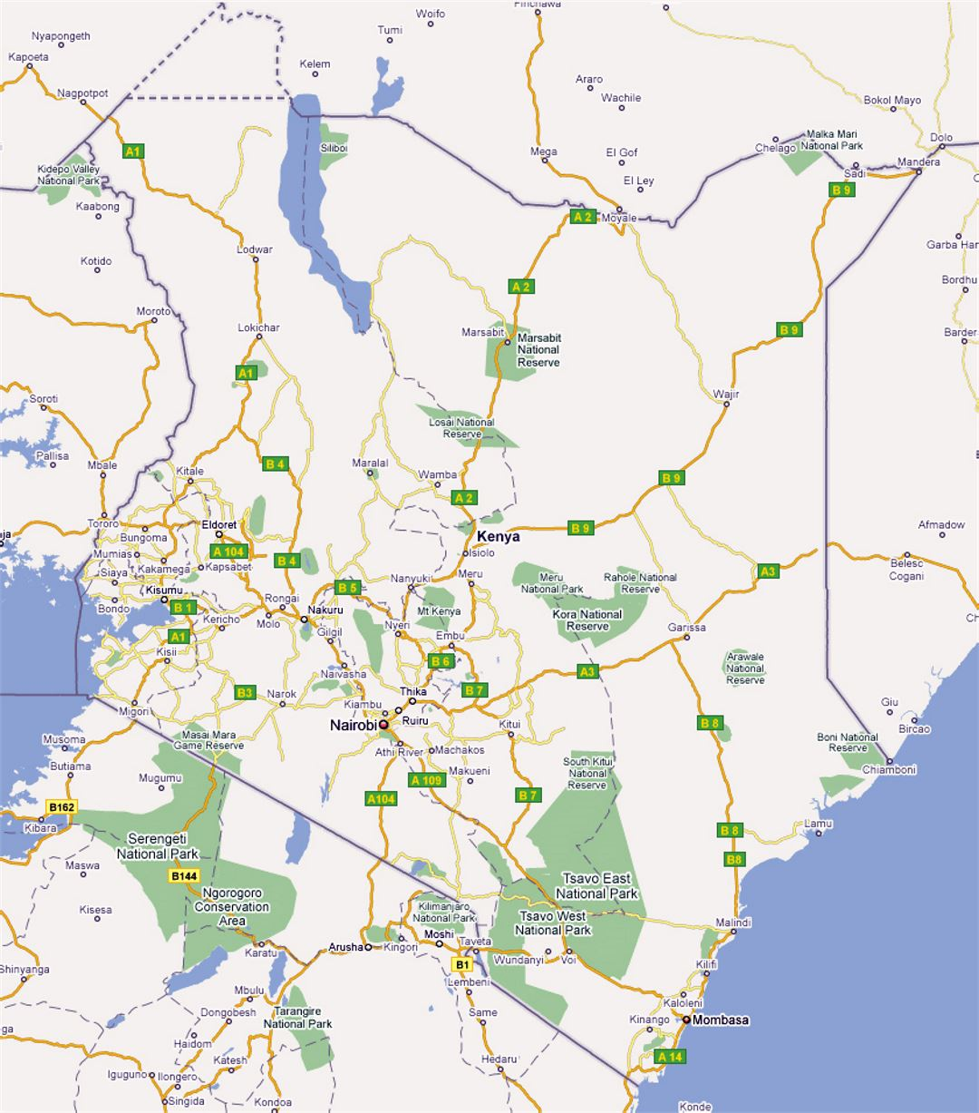 Large road map of Kenya with cities Kenya Africa Mapsland