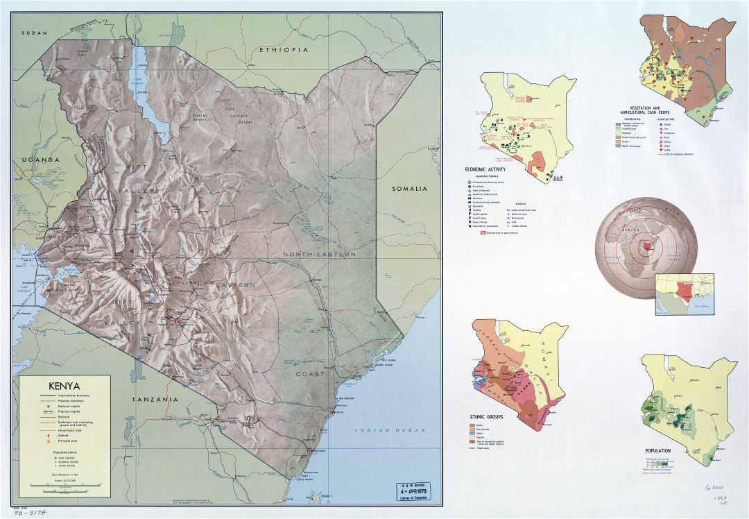 Large scale detailed country profile map of Kenya - 1969