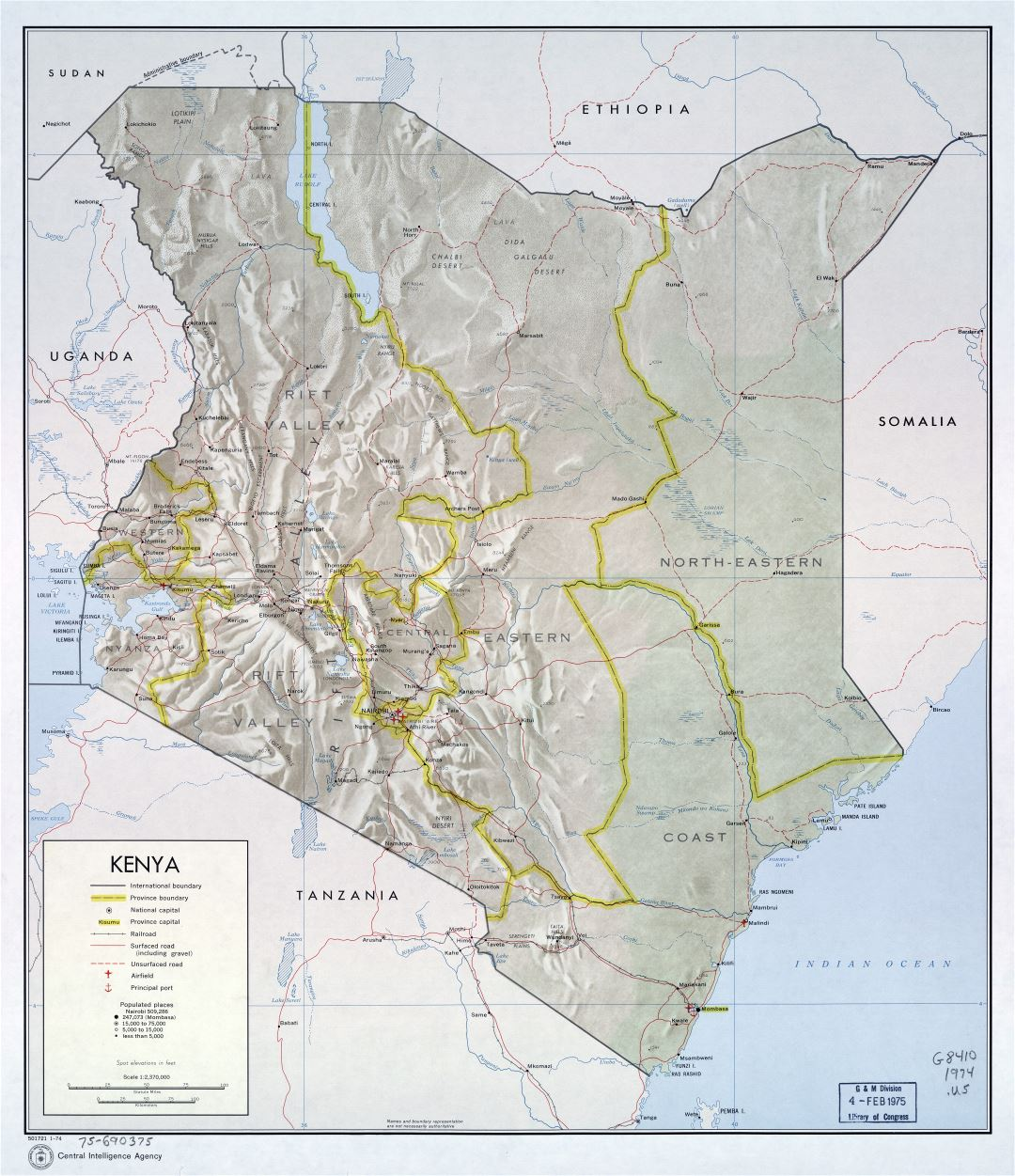 Large scale political and administrative map of Kenya with relief, roads, railroads, cities, ports and airports - 1974