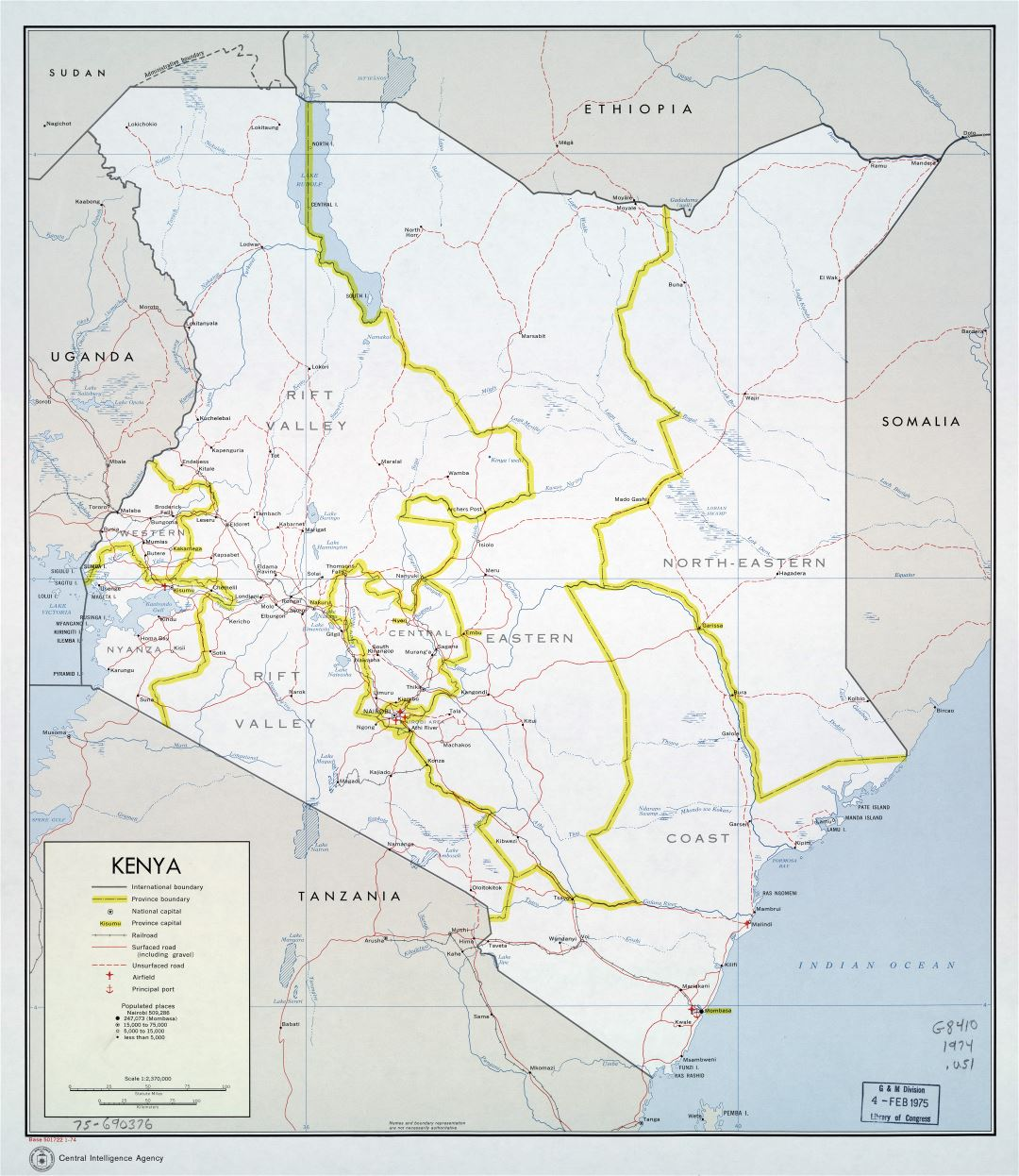 Large scale political and administrative map of Kenya with roads, railroads, cities, ports and airports - 1974
