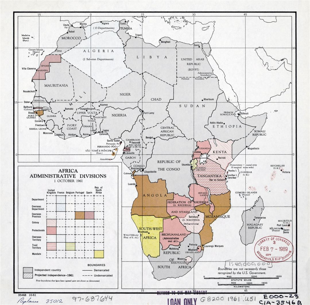 Large detail administrative divisions map of Africa with the marks of major cities - October, 1961