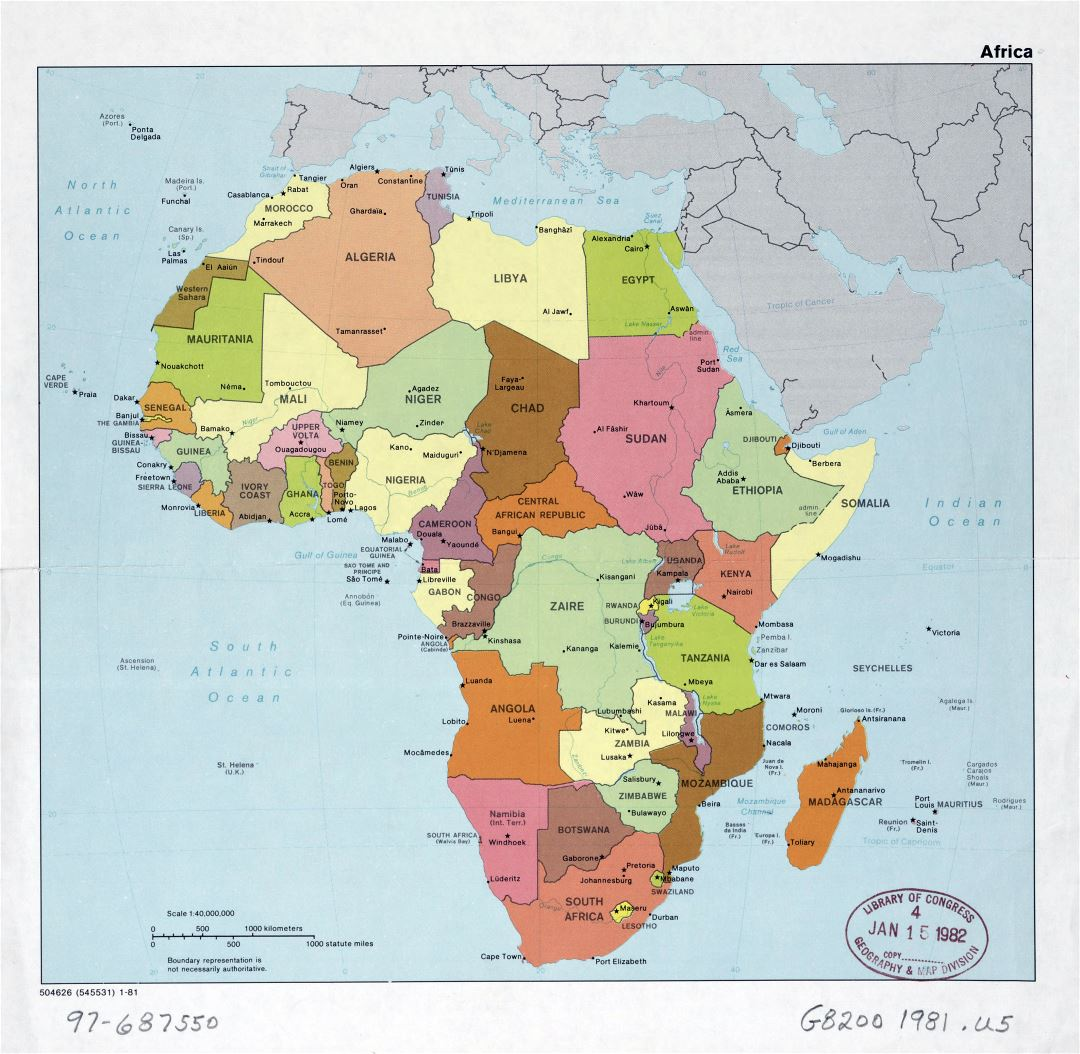 Large detail political map of Africa with the marks of capitals, major cities and names of countries - 1981