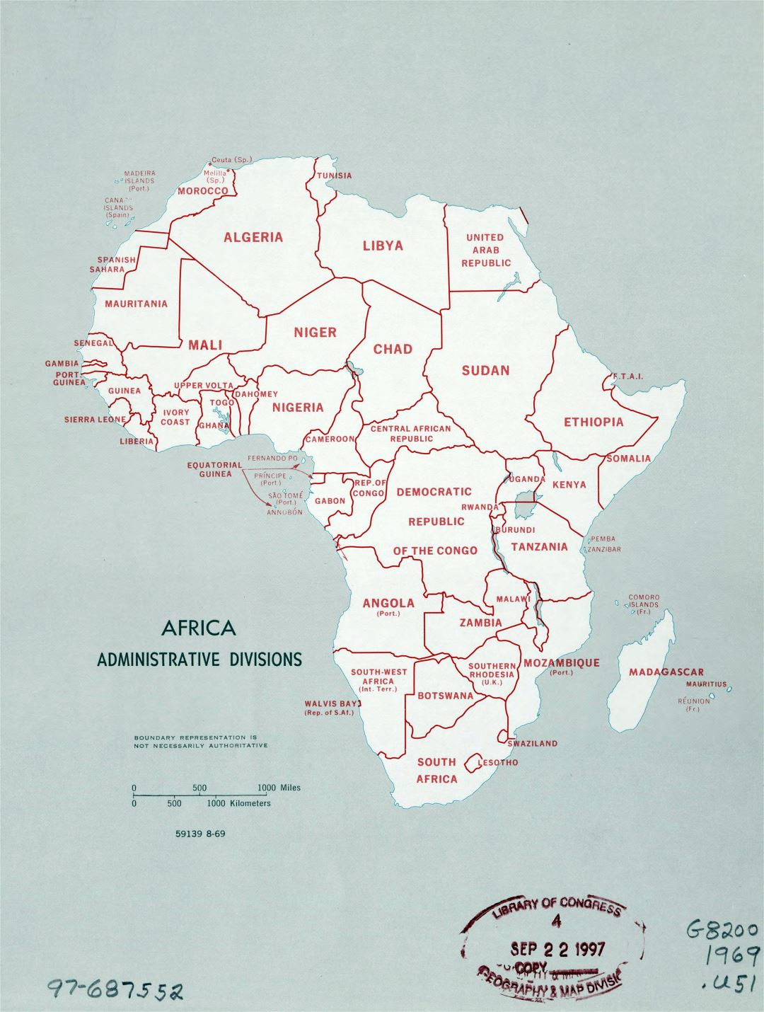 Large detailed administrative divisions map of Africa - 1969