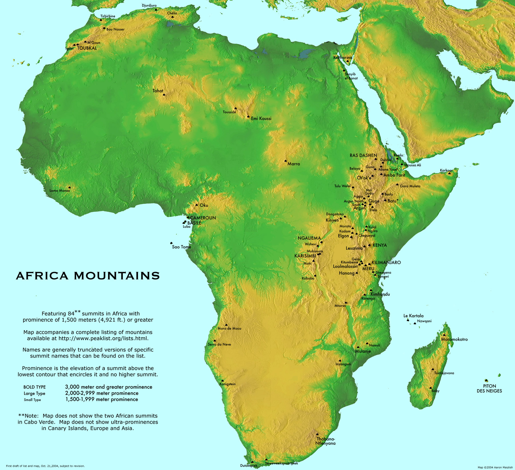 Large detailed Africa mountains map | Africa | Mapsland | Maps of