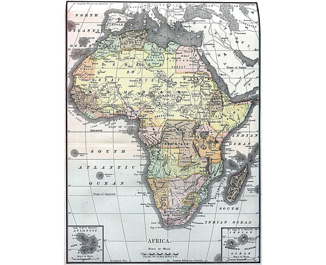 Large detailed old political map of Africa