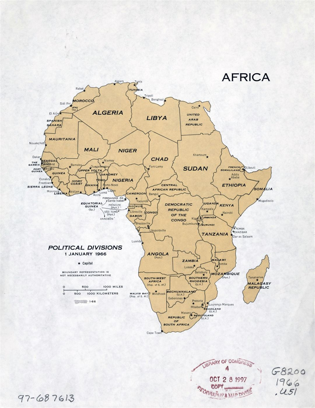Large detailed political divisions map of Africa with capitals - January, 1966