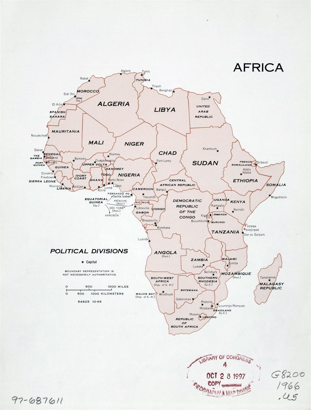 Large detailed political divisions map of Africa with marks of capitals - 1966