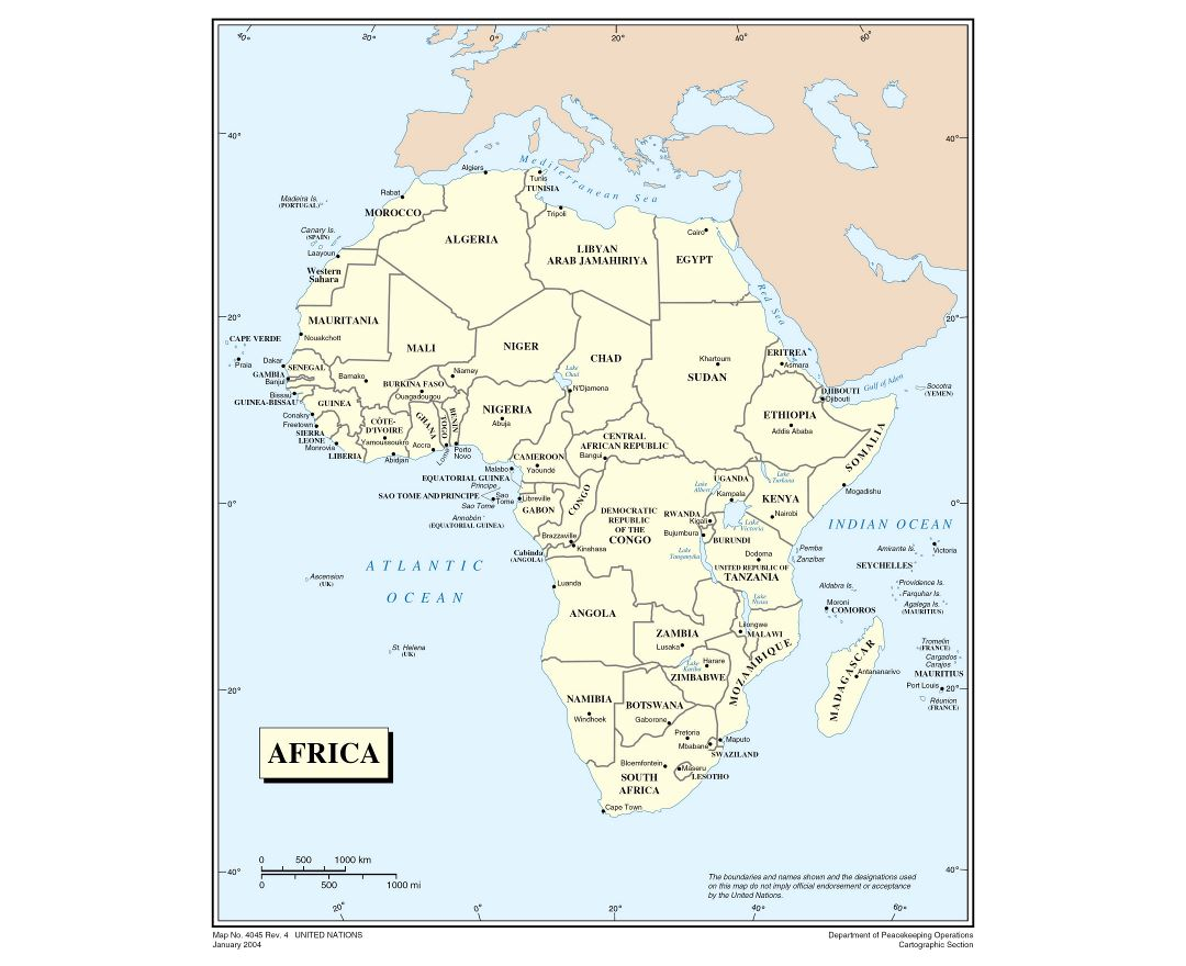 Large detailed political map of Africa
