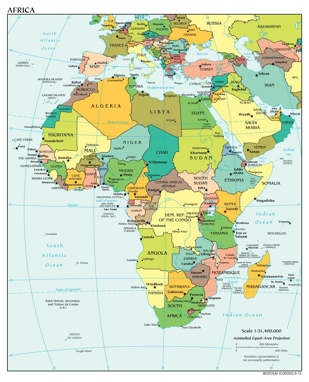 Large detailed political map of Africa with major cities and capitals - 2012