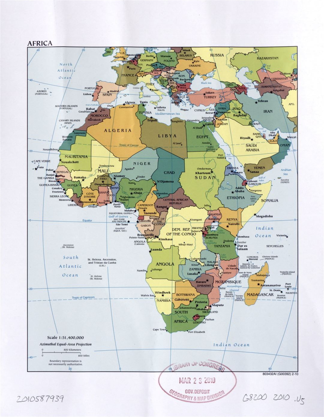 Large detailed political map of Africa with marks of capital cities, large cities and names of countries - 2010