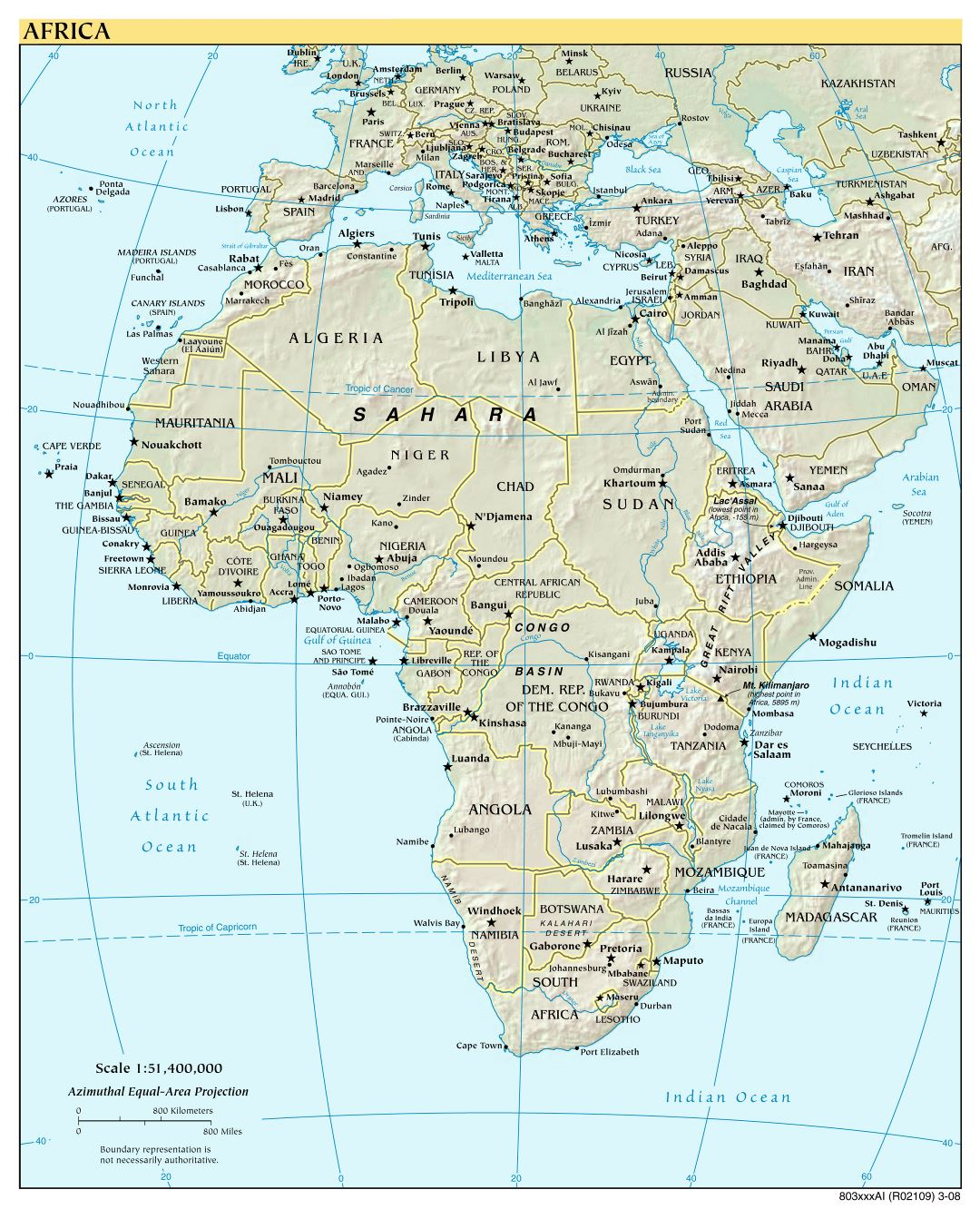 Large detailed political map of Africa with relief and capitals - 2008