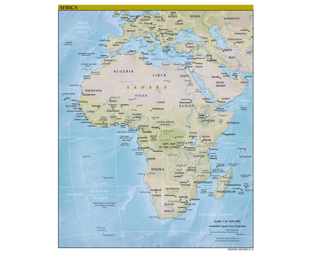 Large detailed political map of Africa with relief and capitals - 2010