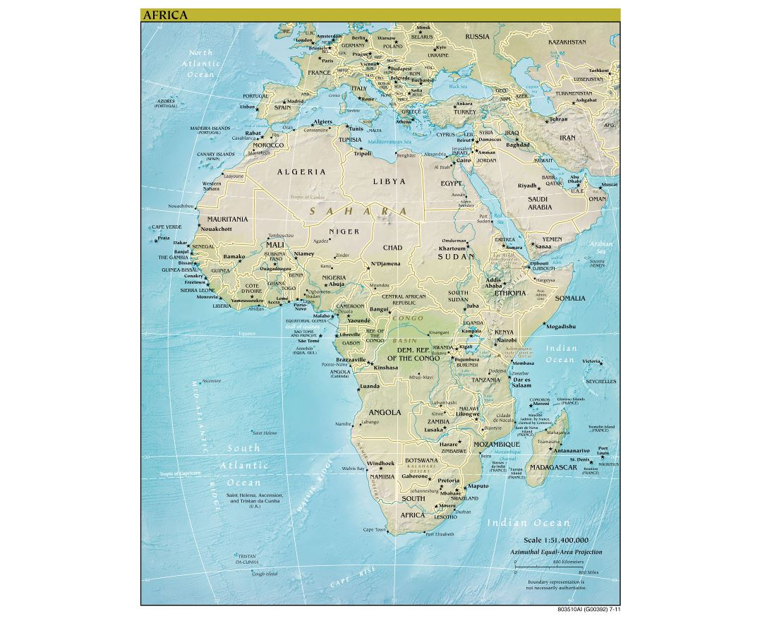 Large detailed political map of Africa with relief, major cities and capitals - 2011