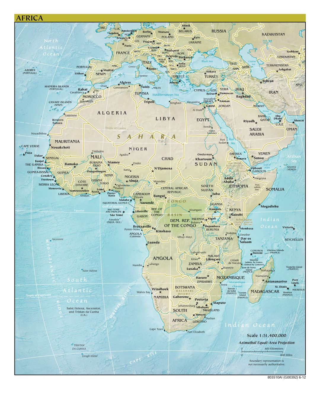 Large detailed political map of Africa with relief, major cities and capitals - 2012