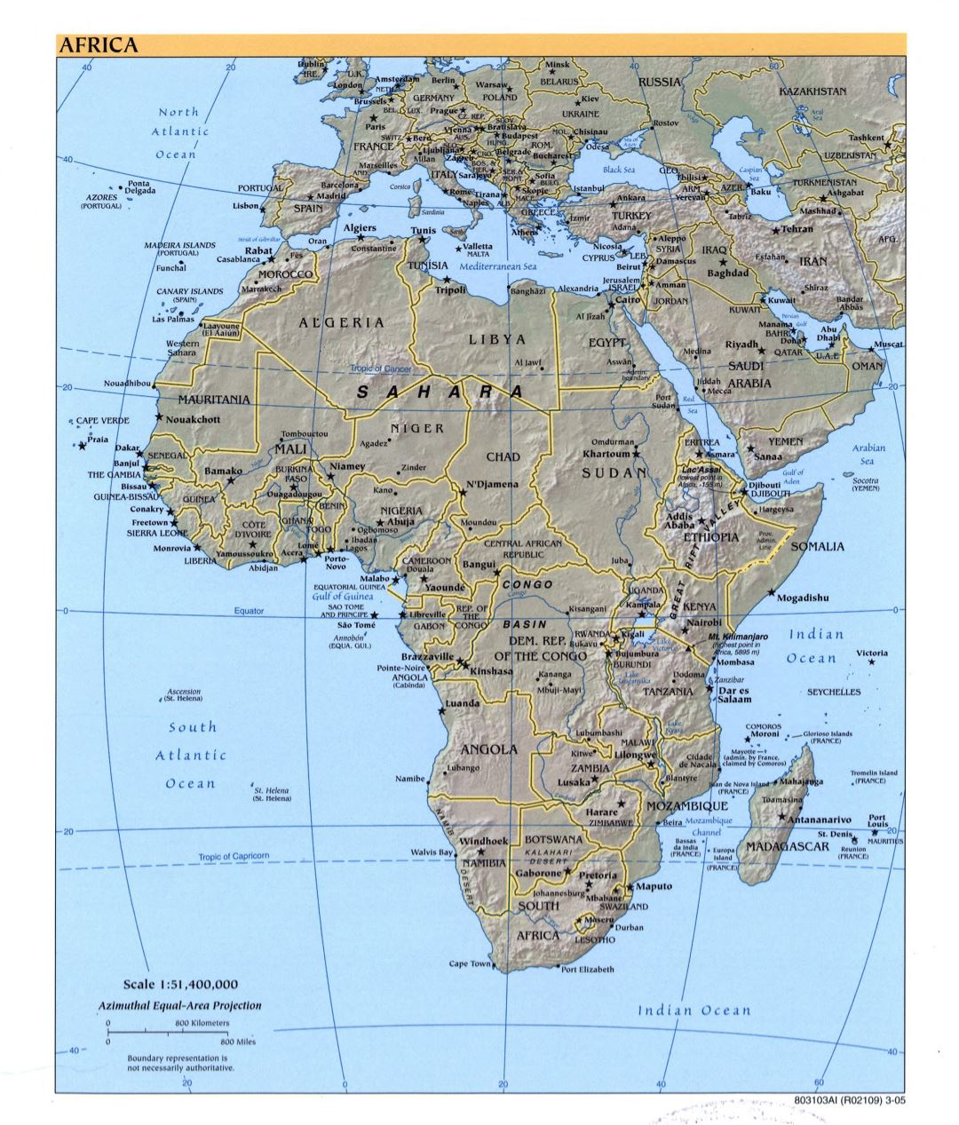 Large detailed political map of Africa with relief, marks of capitals, large cities and names of states - 2005