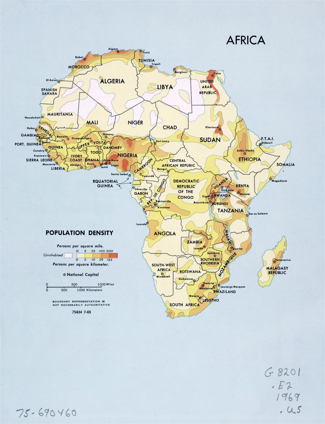 Large detailed population density map of Africa - 1969