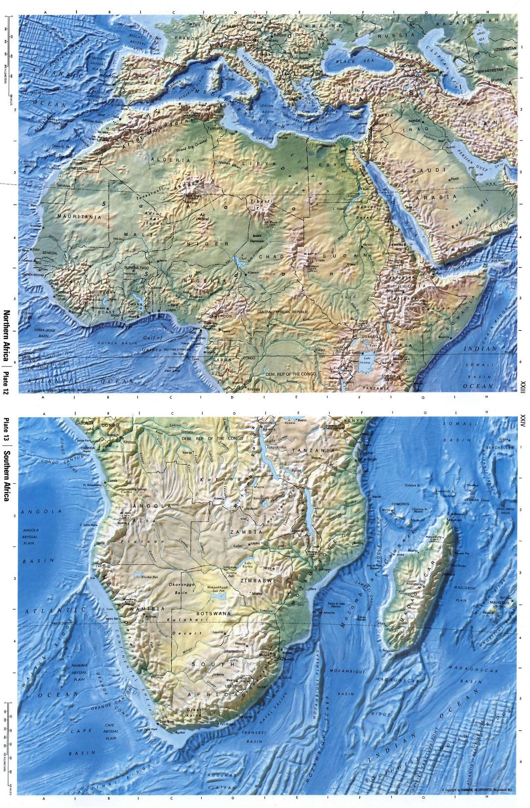 Large detailed relief map of Africa
