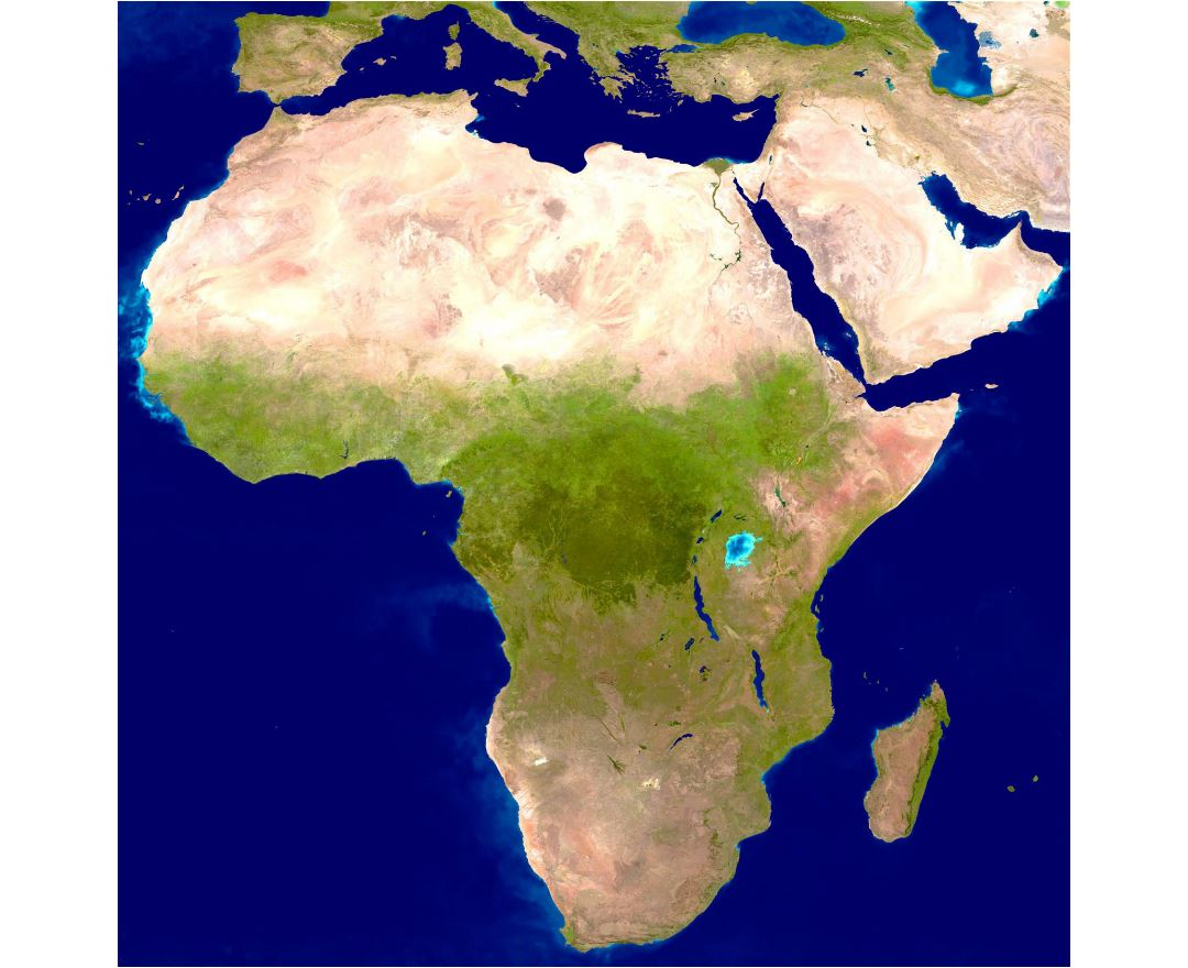 Large detailed satellite map of Africa