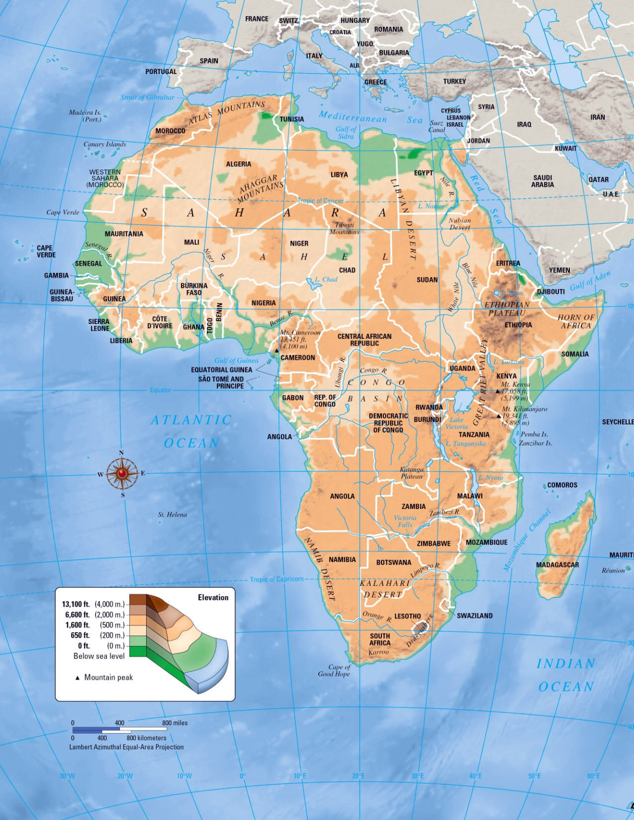 Large elevation map of africa africa mapsland maps of the world large elevation map of africa sciox Image collections