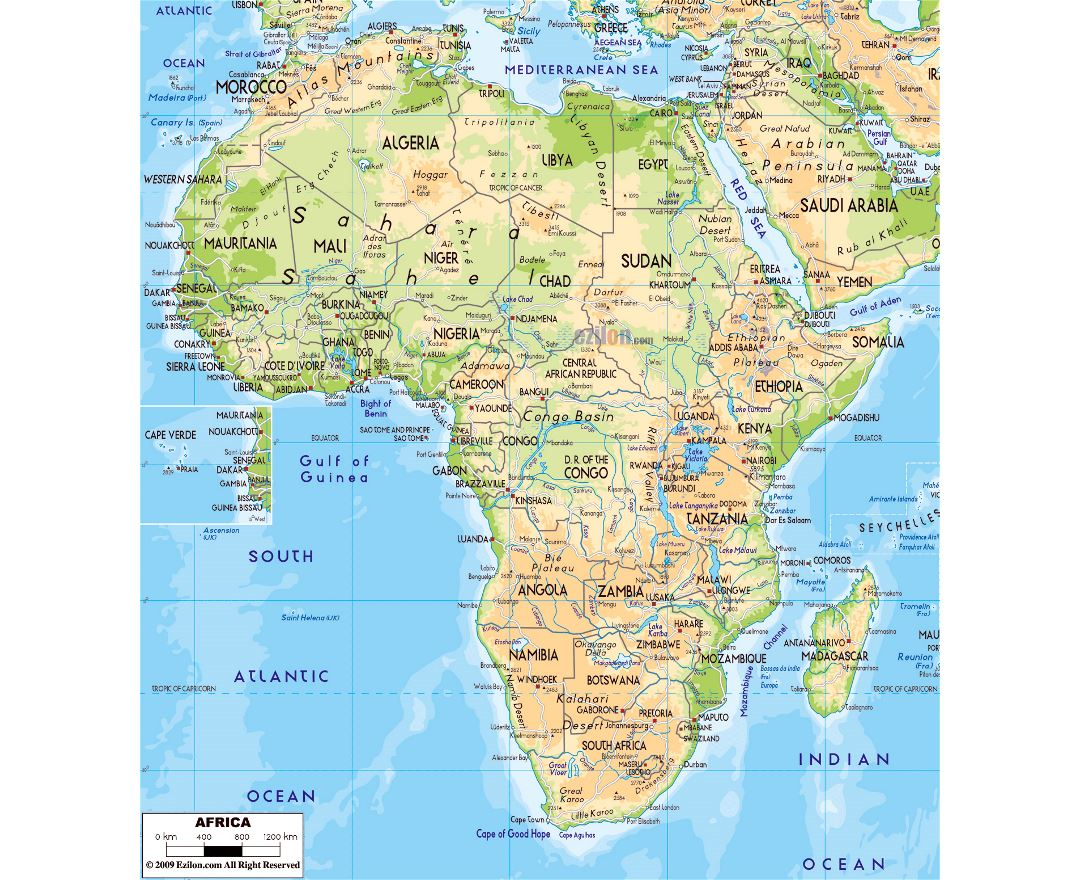 Large physical map of Africa with major roads, capitals and major cities